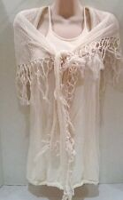 Alice And Olivia Cream Tank Top Racer Back With Separate Mesh Scarf Size Medium