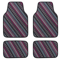Universal Ethnic Car Floor Mats Elastic Linen Durable For SUV Van Sedan 4 PCS