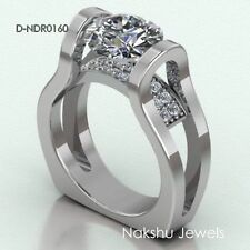 1.5Ct Round Cut Moissanite Euro Shank Engagement Ring 925 Sterling Silver Ring