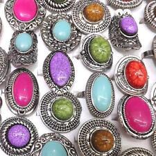 Antique Silver Adjustable Imitation Precious Stone Rings 50pcs/lot