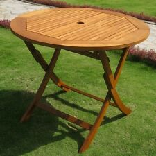 "International Caravan Royal Tahiti Outdoor 36"" Round Wood Folding Table NEW"