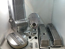 Polished Finned SB Chevy SBC Engine Dress Up Kit Tall 305 350 1979-1986 RH Stick