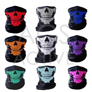 1 Skull Bandana Face Mask Tube Neck Scarf Skeleton Motorcycle Headband Ski Hood