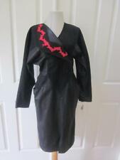Nos Vtg 80's Brenner Black & Red Black Faux Leather Long Sleeve Dress Sz 8P