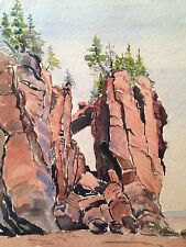 "Original Signed Watercolor by C. Finance - California Artist - ""The Rock"""