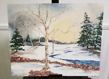 Vintage Winter Country Scene Painting 1997 Signed 20x16 trees river stream snow