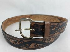 Vintage Wrangler Western Eagle Flower Stained Tooled Leather Brown Belt USA 42