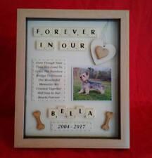 PET DOG MEMORIAL PICTURE FRAME KEEPSAKE PERSONALISED RAINBOW BRIDGE BOX SCRABBLE