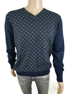 Men's Blue Cotton Jumper - State of Art - Size Extra Large