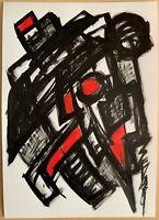 SEVARD Abstrakte Komposition Gemälde Zeichnung A4 Original Signiert Unikat N444