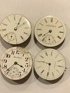 Pocket Watch Movements 4 American 18 size Waltham Elgin and Illinois Nice lot