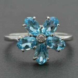 Blue Topaz Flower Engagement Ring Sterling Silver Flower Anniversary Ring