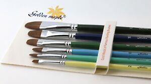 Paint Brushes Set Professional  6PCS OIL ACRYLIC WATERCOLOUR artist Filbert Flat