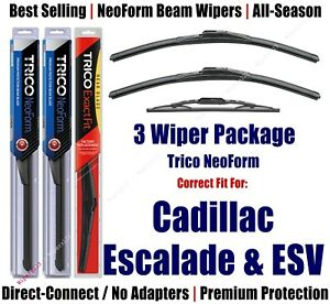 3-Pack Wipers Front+Rear NeoForm fit 2015+ Cadillac Escalade & ESV 16220x2/13-1