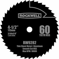"Rockwell RW9282  4 1/2"" High Speed Steel 60T Compact Circular Saw Blade"