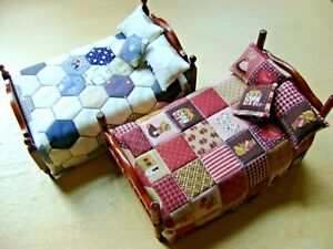 Hand Crafted Dolls House Quilted Bed Set - Quilt, 2  Pillows, & Cushion
