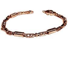 """14kt Solid Rose gold Handmade Link Men's Bracelet 10""""  5 MM  22 grams"""