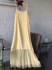 Vintage 90's Romantic Festival April Cornell Pale Yellow Crinoline Slip Dress~ S