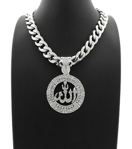 "Hip Hop Iced Allah Pendant & 11mm 20"" Miami Cuban Choker Chain Fashion Necklace"