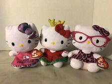 TY Hello Kitty  Beanie Babies Lot Of 3