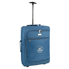 Light Hand Luggage Cabin Case Blue Airline Approved Travel Bag Wheeled Handle
