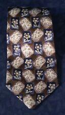 "Attractive Blue Brown Beige Floral Panels DELLACROCE Silk Tie 58"" x 4"""