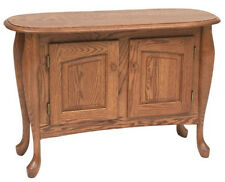 #1039 Solid Oak Queen Anne Storage Sofa Table