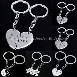 2PC Mother Daughter Best Friends Yin Yang Heart Jewelry Keyring Keyfob Keychain