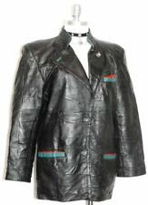 "LEATHER BLACK JACKET Coat Women German Winter Biker Skirt Pants B44"" 38 14 L"