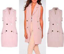 UK New Ladies Long Line Collared Blazer  Jacket Coat Waistcoat Pink  6-14