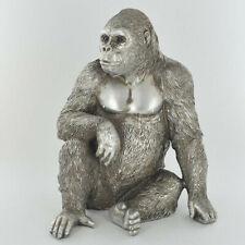 Gorilla Figurine Statue Sculpture Ape Ornament Antique Silver Finish NEW