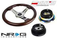 """NRG 330mm Brown Wood CH Spoke Steering Wheel 1.5"""" Deep 140H Hub 2.8 BKMC Release"""