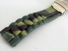 cinturino mimetico silicone verde doppia chiusura tipo rlx ansa 20 mm