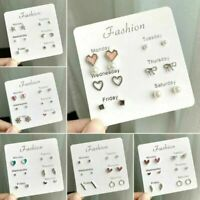 6Pairs Fashion Rhinestone Crystal Pearl Earrings Set Women Ear Stud Jewelry