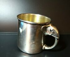 """ANTIQUE WATROUS STERLING SILVER ELEPHANT HANDLE BABY CUP MUG """"GLO"""" 108 GRAMS"""