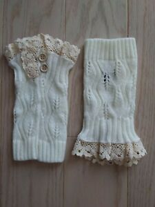 New Women's Knit Leg Warmers With Lace And 2 Buttons. White/cream