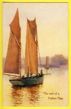 """cpa Postcard J. SALMON, Sevenoaks LITHO """"The end of a Perfect Day"""" Voilier Boat"""