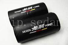 2PCS MUGEN POWER NECK REST PILLOWS BLACK CARBON FIBER CAR SEAT HEADREST CUSHIONS