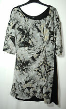 BLACK GREY LADIES PARTY FLORAL EVENING DRESS F&F SIZE 12/40