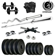 GYMSTER 50KG WEIGHT PLATES+ 3FT STRAIGHT ROD+3FT ZIGZAG ROD+GYM GLOVES
