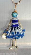 new collection Collana Bambola vestito di perline,necklace doll,da donna blu