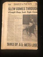 New York Daily News Newspaper Vintage Seattle Slew Triple Crown June 12 1977