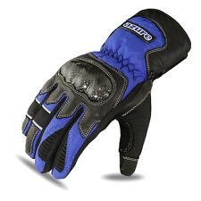 Motorbike Winter Gloves Biker Motorcycle Thermal Waterproof Blue Leather Medium