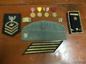 WW 2 U S Navy Lot Medals , Trade patch ,Garrison cap