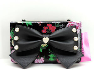 Betsey Johnson Black Floral Bow Wallet On A String Crossbody Multicolor New! NWT