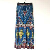 Flying Tomato Womens Maxi Skirt Boho Hippie Festival Size S Blue Red Aztec Print