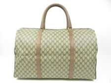 Authentic Old Gucci Large Boston Bag GG Pattern travel PVC Leather r1634