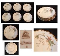 "VINTAGE Lidner Porcelain 7.5"" Plates Kueps Bavaria Germany Christmas GLORIA 6-PC"