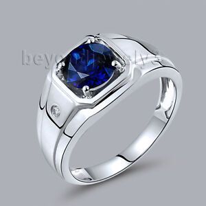 Men's Jewelry  18K White Gold Diamond Enagement Wedding Sapphire Gemstone Ring