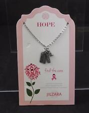 Jilzara Pink Ribbon Charm Necklace Breast Cancer Polymer Clay Bead Handmade B2